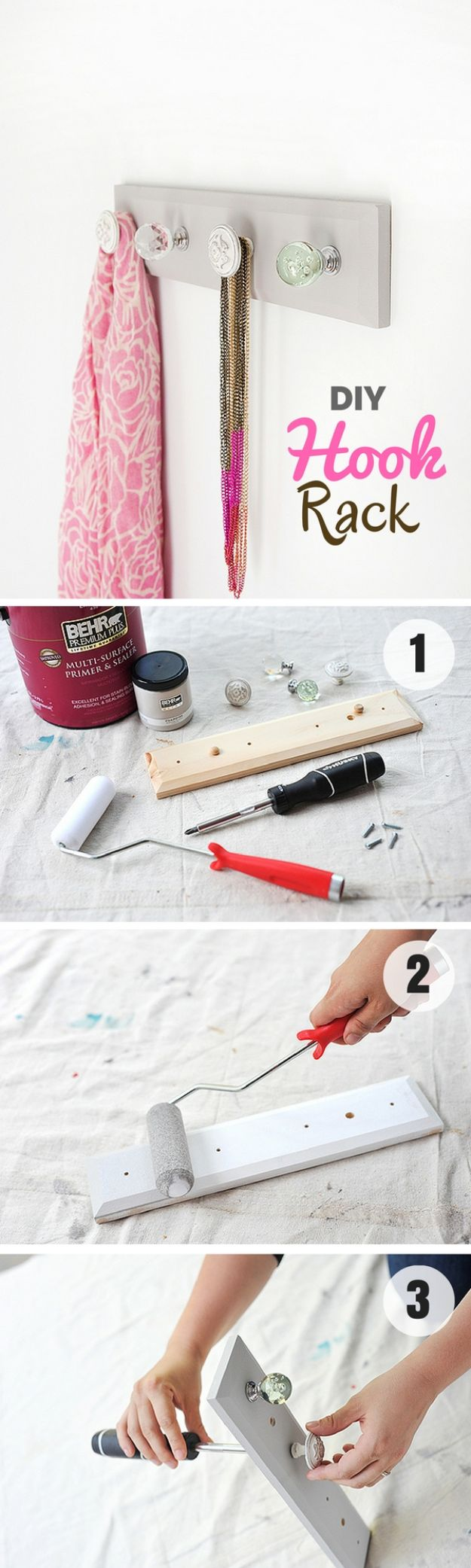 DIY Modern Home Decor - DIY Hook Rack - Room Ideas, Wall Art on A Budget, Farmhouse Style Projects - Easy DIY Ideas and Decorations for Apartments, Living Room, Bedroom, Kitchen and Bath - Fixer Upper Tips and Tricks