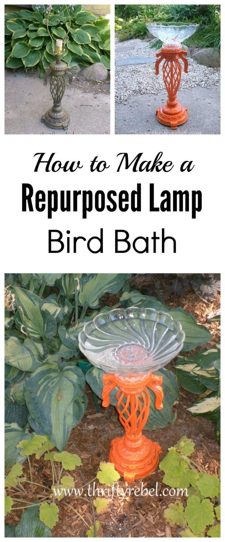 Creative Garden Art Ideas -Crafts for Outdoors - DYI Garden Ornaments to Make for Backyard Decoration - Thrift Store Crafts - DIY Lamp into Orange Birdbath