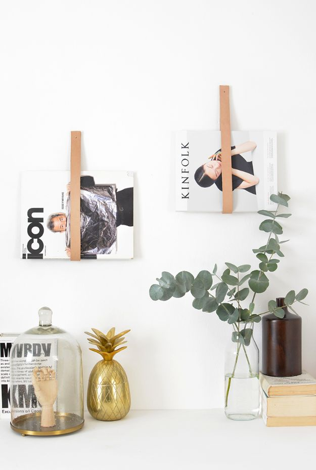 DIY Modern Home Decor - DIY Leather Magazine Rack Holder - Room Ideas, Wall Art on A Budget, Farmhouse Style Projects - Easy DIY Ideas and Decorations for Apartments, Living Room, Bedroom, Kitchen and Bath - Fixer Upper Tips and Tricks
