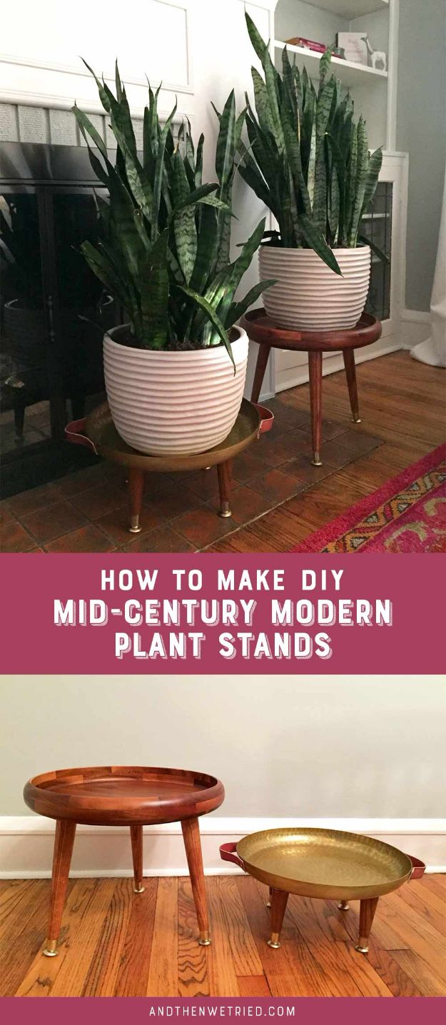 DIY Plant Hangers - DIY Mid-Century Modern Plant Stands - Cute and Easy Home Decor Ideas for Plants - How To Make Planters, Hanging Pot Holders, Wire, Rope and Baskets - Quick DIY Gifts Ideas, Macrame Plant Hanger #gardening #plants #diyideas