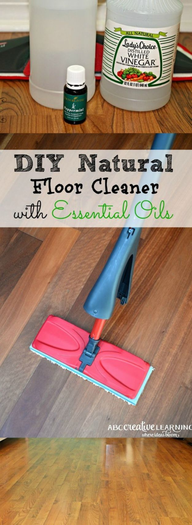 Homemade Cleaning Products - DIY Natural Floor Cleaner With Essential Oils - DIY Cleaners With Recipe and Tutorial - Make DIY Natural and ll Purpose Cleaner Recipes for Home With Vinegar, Essential Oils