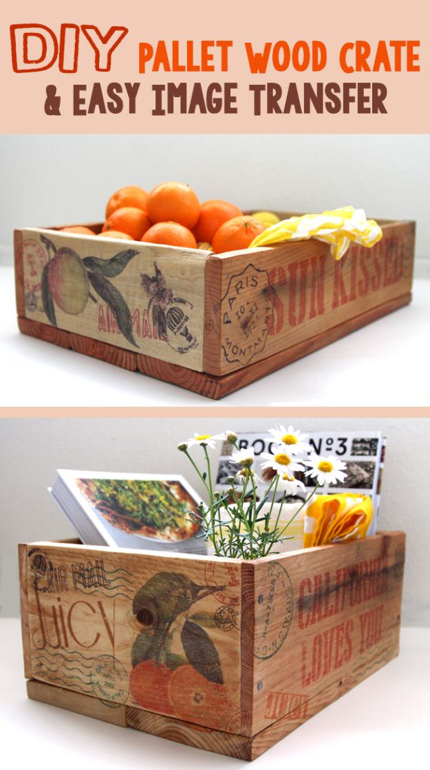 How to Transfer Images to Wood Pallet Crates - Easy DIY Home Decor Projects - Creative Kitchen Decor Ideas