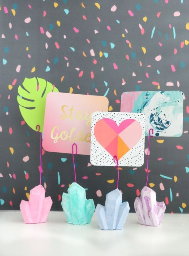 DIY Modern Home Decor - DIY Plaster Gem Photo Holders - Room Ideas, Wall Art on A Budget, Farmhouse Style Projects - Easy DIY Ideas and Decorations for Apartments, Living Room, Bedroom, Kitchen and Bath - Fixer Upper Tips and Tricks