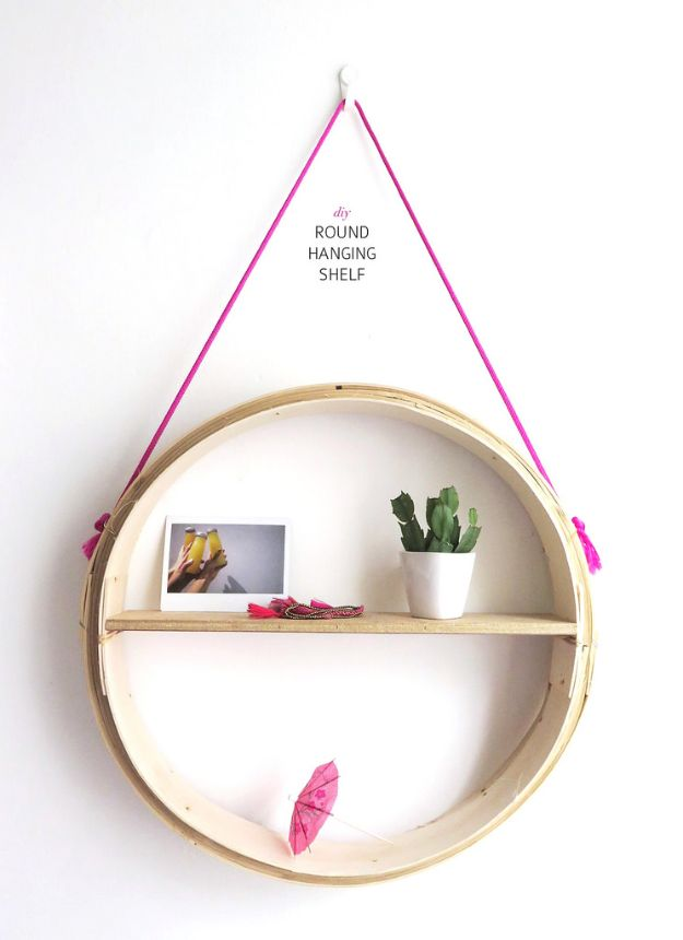 DIY Modern Home Decor - DIY Round Hanging Shelf - Room Ideas, Wall Art on A Budget, Farmhouse Style Projects - Easy DIY Ideas and Decorations for Apartments, Living Room, Bedroom, Kitchen and Bath - Fixer Upper Tips and Tricks