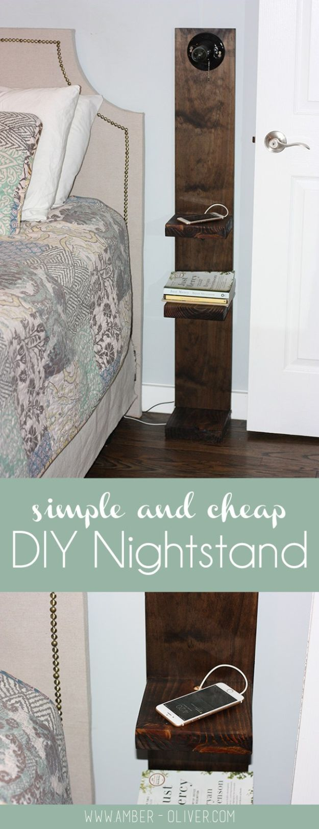 DIY Modern Home Decor - DIY Rustic Nightstand - Room Ideas, Wall Art on A Budget, Farmhouse Style Projects - Easy DIY Ideas and Decorations for Apartments, Living Room, Bedroom, Kitchen and Bath - Fixer Upper Tips and Tricks