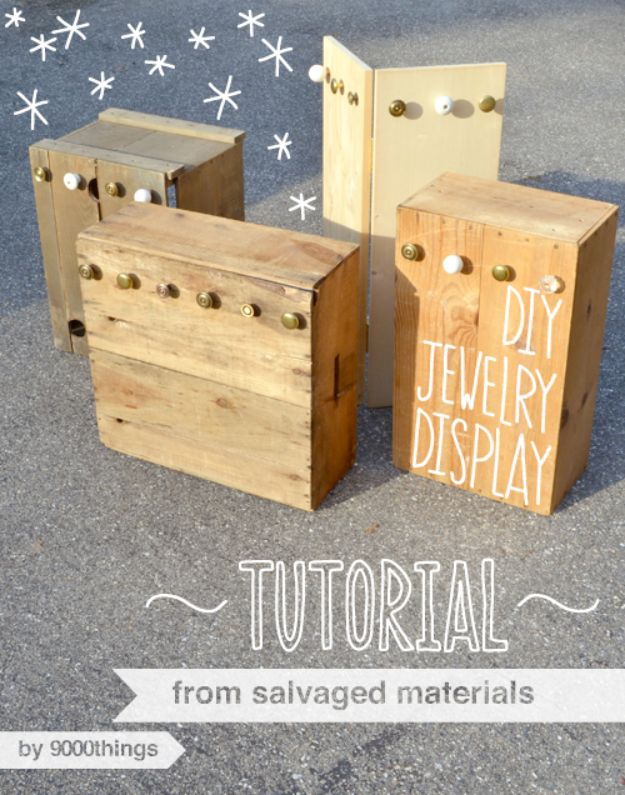 Things to Make With Crates - DIY Furniture Ideas - Cheap Home Decor Projects - DIY Salvaged Jewelry Display