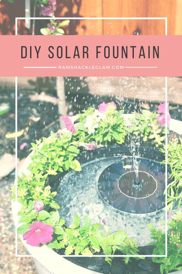 DIY Fountains - DIY Solar Fountain - Easy Ways to Make A Fountain in the Backyard - Do It Yourself Projects for the Garden - DIY Home Improvement on a Budget - Step by Step DIY Tutorials With Instructions http://diyjoy.com/diy-fountains