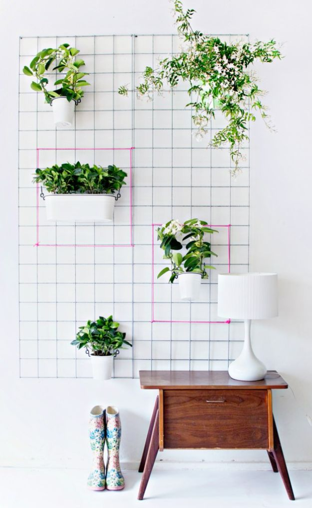 DIY Plant Hangers - DIY Steel Mesh Wall Hang Planter - Cute and Easy Home Decor Ideas for Plants - How To Make Planters, Hanging Pot Holders, Wire, Rope and Baskets - Quick DIY Gifts Ideas, Macrame Plant Hanger #gardening #plants #diyideas