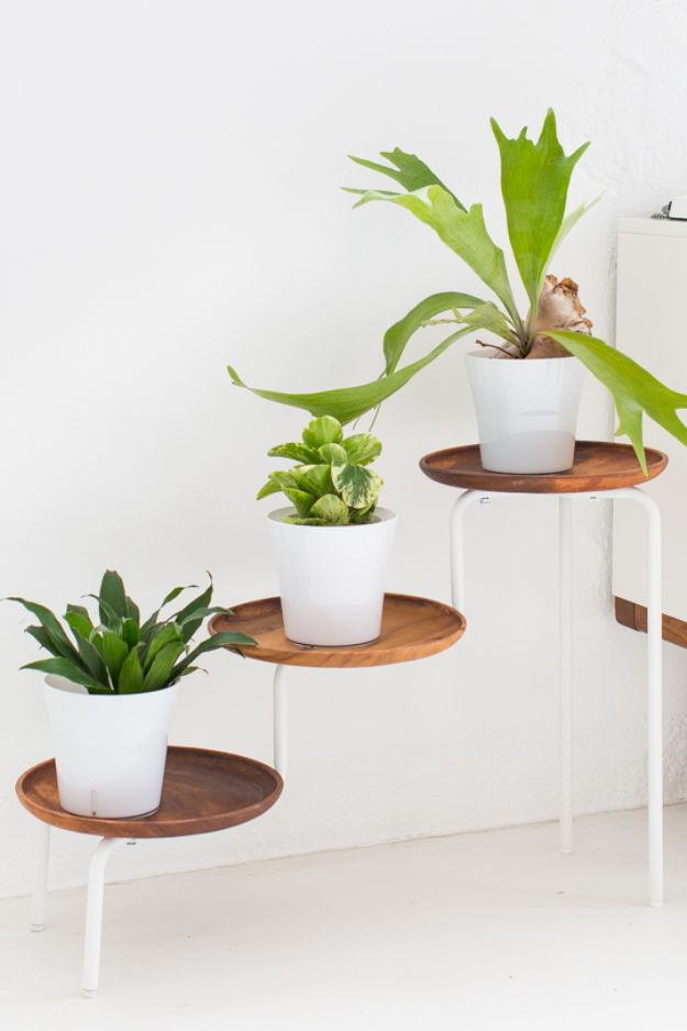 DIY Plant Hangers - DIY Tiered Acacia Wood Plant Stand - Cute and Easy Home Decor Ideas for Plants - How To Make Planters, Hanging Pot Holders, Wire, Rope and Baskets - Quick DIY Gifts Ideas, Macrame Plant Hanger #gardening #plants #diyideas