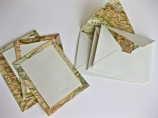 DIY Stationery Ideas - DIY Travel Map Correspondence Set - Easy Projects for Making, Decorating and Embellishing Stationary - Cute Personal Papers and Cards With Creative Art Ideas and Designs - Monogram and Brush Lettering Tips and Tutorials for Envelopes and Notebook - Stencil, Marble, Paint and Ink, Emboss Tutorials - A Handmade Card Set or Box Makes An Awesome DIY Gift Idea - Printables and Cool Ideas for Kids http://diyjoy.com/diy-stationery-ideas