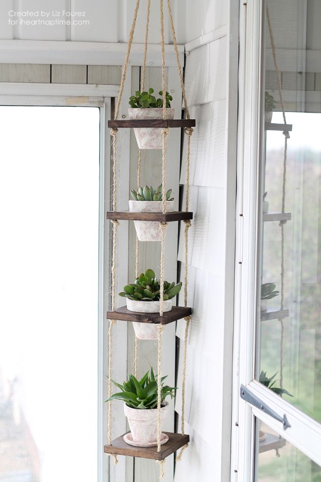 DIY Plant Hangers - DIY Vertical Plant Hanger - Cute and Easy Home Decor Ideas for Plants - How To Make Planters, Hanging Pot Holders, Wire, Rope and Baskets - Quick DIY Gifts Ideas, Macrame Plant Hanger http://diyjoy.com/diy-plant-hangers-stands