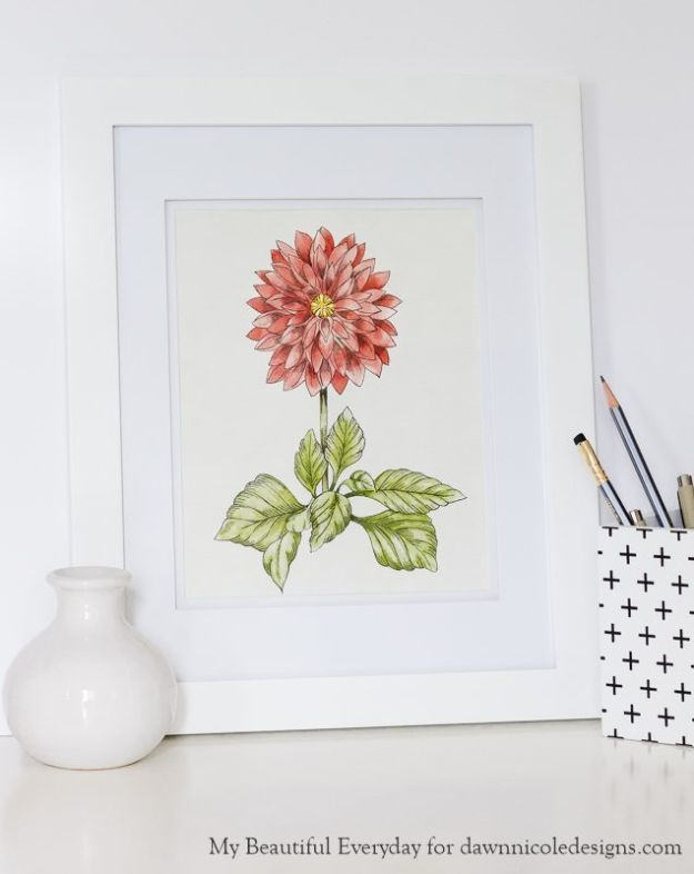 Watercolor Tutorials and Techniques - DIY Watercolor Dahlia - Make Watercolor Flowers, Ocean, Sky, Abstract People, Landscapes, Buildings, Animals, Portraits, Sunset - Step by Step Art Lessons for Beginners - Easy Video Tutorials and How To for Watercolors and Paint Washes #art