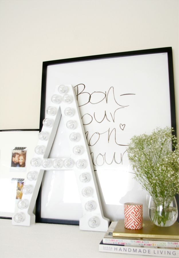 Creative All White DIY Room Decor - DIY White Marquee Letter - Creative Home Decor Ideas for the Bedroom and Living Room, Kitchen and Bathroom - Do It Yourself Crafts and White Wall Art, Bedding, Curtains, Lamps, Lighting, Rugs and Accessories - Easy Room Decoration Ideas for Modern, Vintage Farmhouse and Minimalist Furnishings - Furniture, Wall Art and DIY Projects With Step by Step Tutorials and Instructions #diydecor