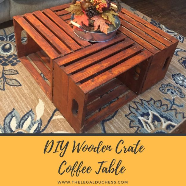 DIY Wooden Crate Coffee Table - Inexpensive Living Room Furniture Ideas - Easy to Make Home Decor