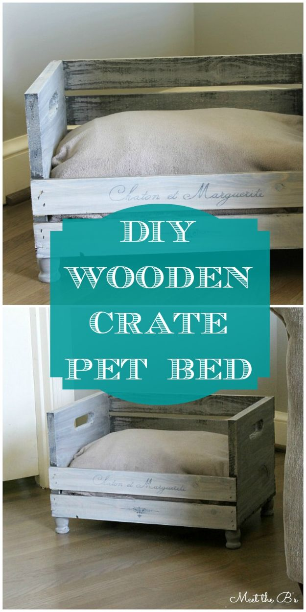 Cheap Home Decor Ideas - Rustic Style DIY Pet Bed Made With Wooden Crate - Farmhouse Furniture and Decor Ideas