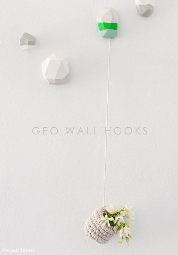 DIY Modern Home Decor - Decorative Geo Wall Hooks - Room Ideas, Wall Art on A Budget, Farmhouse Style Projects - Easy DIY Ideas and Decorations for Apartments, Living Room, Bedroom, Kitchen and Bath - Fixer Upper Tips and Tricks