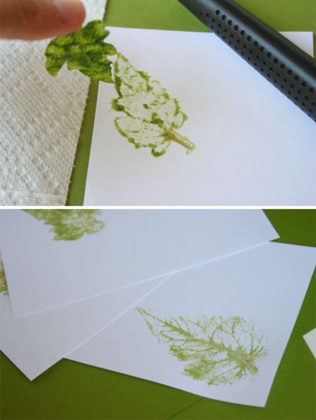 DIY Stationery Ideas - Earthy Leaf Print Notecards - Easy Projects for Making, Decorating and Embellishing Stationary - Cute Personal Papers and Cards With Creative Art Ideas and Designs - Monogram and Brush Lettering Tips and Tutorials for Envelopes and Notebook - Stencil, Marble, Paint and Ink, Emboss Tutorials - A Handmade Card Set or Box Makes An Awesome DIY Gift Idea - Printables and Cool Ideas for Kids http://diyjoy.com/diy-stationery-ideas