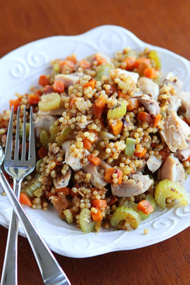 Easy Recipes For Rotisserie Chicken - Easy Chicken and Couscous Skillet Dinner - Healthy Recipe Ideas for Leftovers - Comfort Foods With Chicken - Low Carb and Gluten Free, Crock Pot Meals,#easyrecipes #dinnerideas #recipes