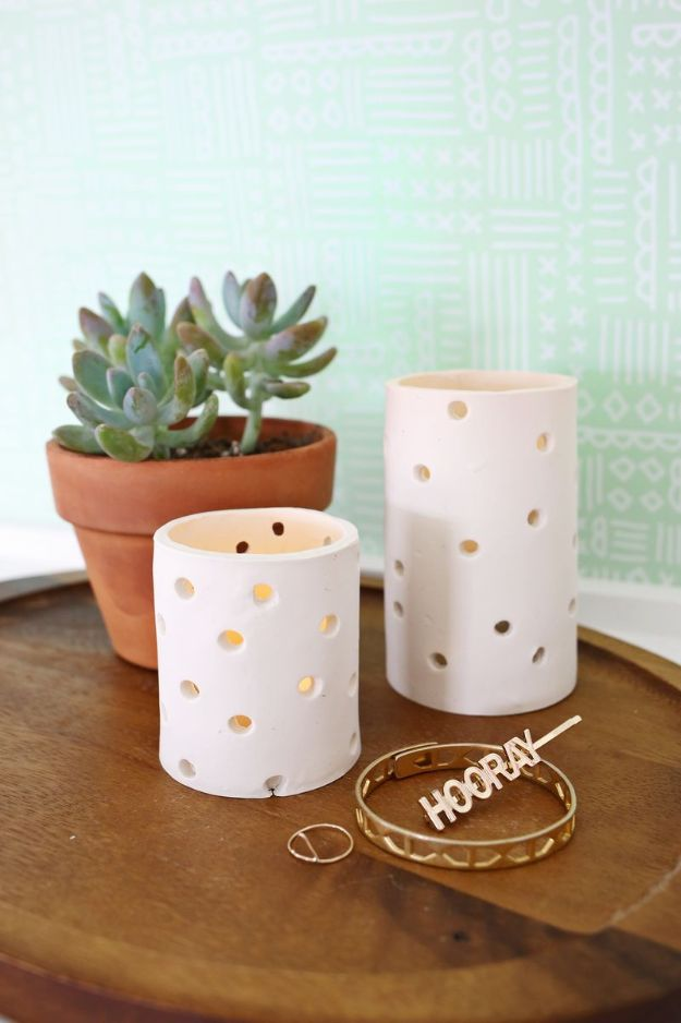 All White DIY Room Decor - Easy Clay Votive - Creative Home Decor Ideas for the Bedroom and Living Room, Kitchen and Bathroom - Do It Yourself Crafts and White Wall Art, Bedding, Curtains, Lamps, Lighting, Rugs and Accessories - Easy Room Decoration Ideas for Modern, Vintage Farmhouse and Minimalist Furnishings - Furniture, Wall Art and DIY Projects With Step by Step Tutorials and Instructions #diydecor