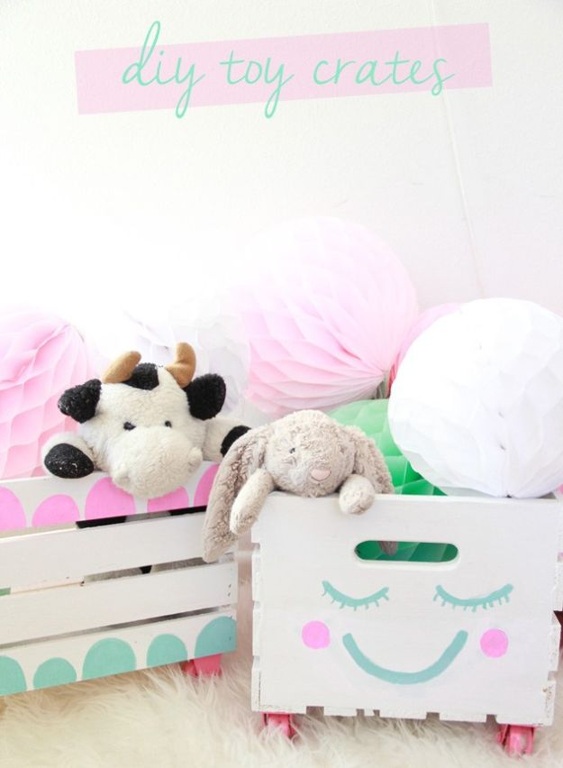 Creative Playroom Storage Ideas - Easy DIY Personalized Toy Crates - Cheap Nursery Decor Projects
