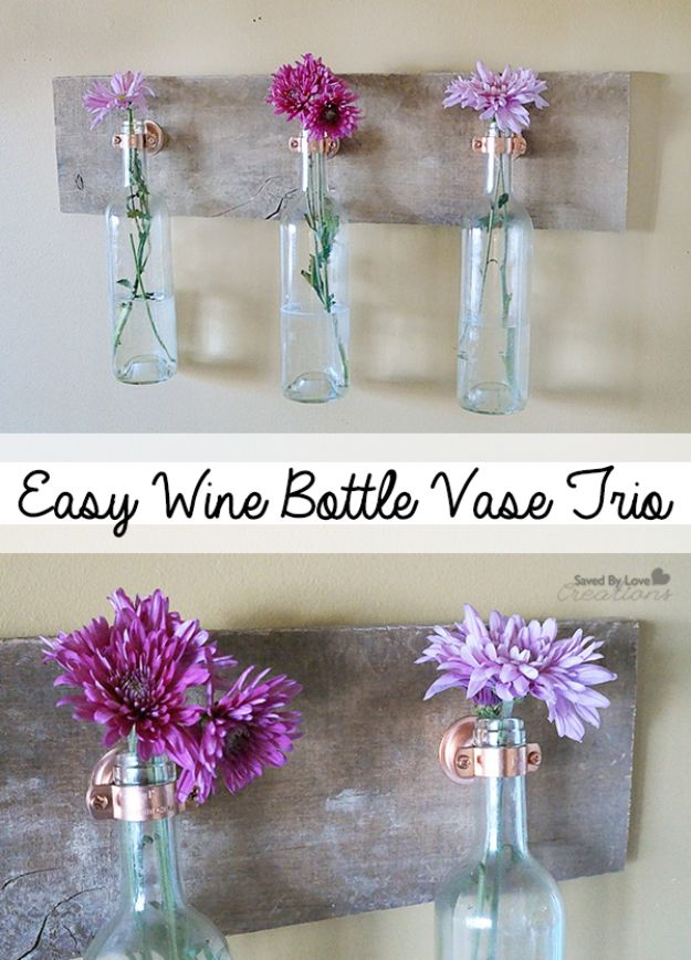 DIY Modern Home Decor - Easy Wine Bottle Vase Trio - Room Ideas, Wall Art on A Budget, Farmhouse Style Projects - Easy DIY Ideas and Decorations for Apartments, Living Room, Bedroom, Kitchen and Bath - Fixer Upper Tips and Tricks