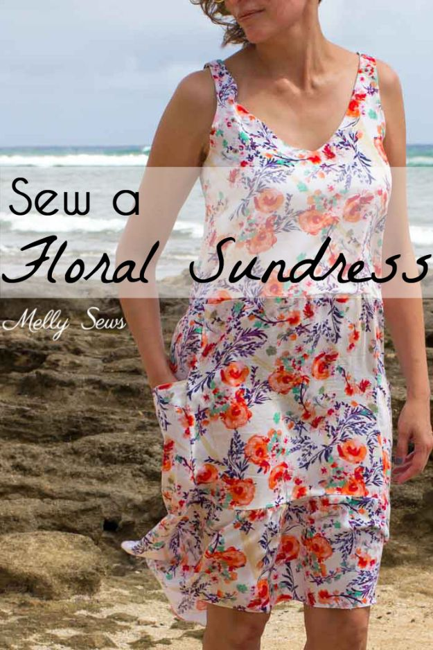 Cool Things To Sew For Summer - Floral Sundress - Easy Dresses, Cute Skirts, Maxi Dress, Shorts, Pants and Tops