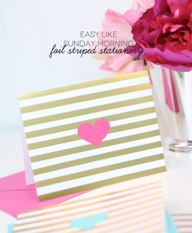 DIY Stationery Ideas - Foil Striped Stationery - Easy Projects for Making, Decorating and Embellishing Stationary - Cute Personal Papers and Cards With Creative Art Ideas and Designs - Monogram and Brush Lettering Tips and Tutorials for Envelopes and Notebook - Stencil, Marble, Paint and Ink, Emboss Tutorials - A Handmade Card Set or Box Makes An Awesome DIY Gift Idea - Printables and Cool Ideas for Kids http://diyjoy.com/diy-stationery-ideas