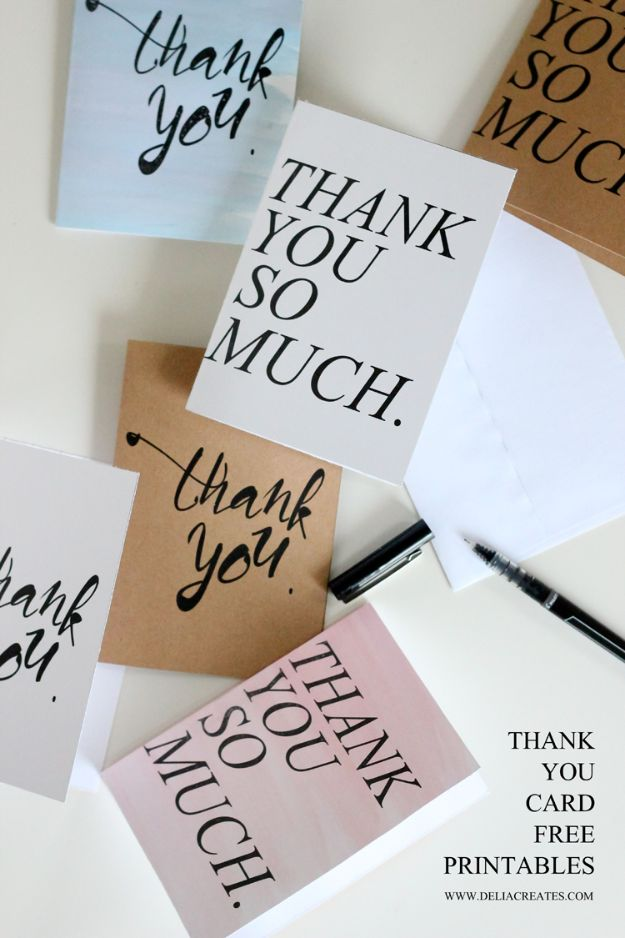 DIY Stationery Ideas - Free Thank You Card - Easy Projects for Making, Decorating and Embellishing Stationary - Cute Personal Papers and Cards With Creative Art Ideas and Designs - Monogram and Brush Lettering Tips and Tutorials for Envelopes and Notebook - Stencil, Marble, Paint and Ink, Emboss Tutorials - A Handmade Card Set or Box Makes An Awesome DIY Gift Idea - Printables and Cool Ideas for Kids http://diyjoy.com/diy-stationery-ideas
