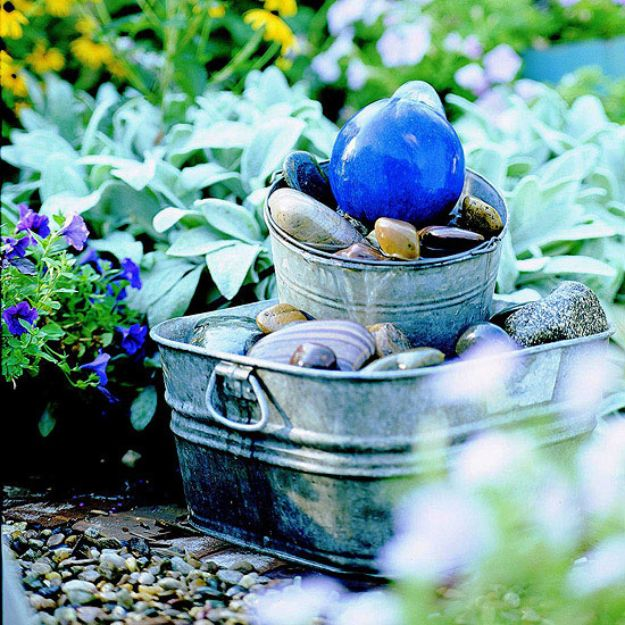 DIY Fountains - Gazing Ball Bubbler Fountain - Easy Ways to Make A Fountain in the Backyard - Do It Yourself Projects for the Garden - DIY Home Improvement on a Budget - Step by Step DIY Tutorials With Instructions http://diyjoy.com/diy-fountains