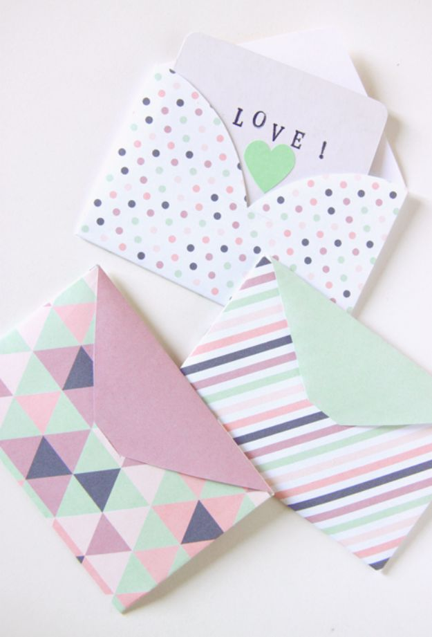 DIY Stationery Ideas - Geometric Envelopes - Easy Projects for Making, Decorating and Embellishing Stationary - Cute Personal Papers and Cards With Creative Art Ideas and Designs - Monogram and Brush Lettering Tips and Tutorials for Envelopes and Notebook - Stencil, Marble, Paint and Ink, Emboss Tutorials - A Handmade Card Set or Box Makes An Awesome DIY Gift Idea - Printables and Cool Ideas for Kids http://diyjoy.com/diy-stationery-ideas