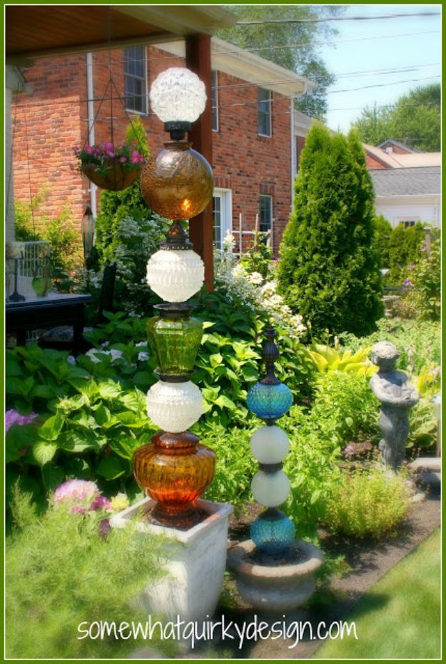 DIY Garden Decor Ideas - Crafts for Outdoors - DYI Garden Ornaments to Make for Backyard Decoration - Thrift Store Crafts - DYI Glass Globe Towers