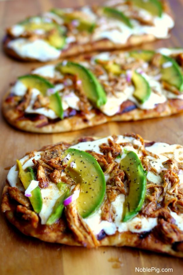 Easy Recipes For Rotisserie Chicken - Grilled Avocado-Barbecue Chicken Naan Pizza - Healthy Recipe Ideas for Leftovers - Comfort Foods With Chicken - Low Carb and Gluten Free, Crock Pot Meals,#easyrecipes #dinnerideas #recipes