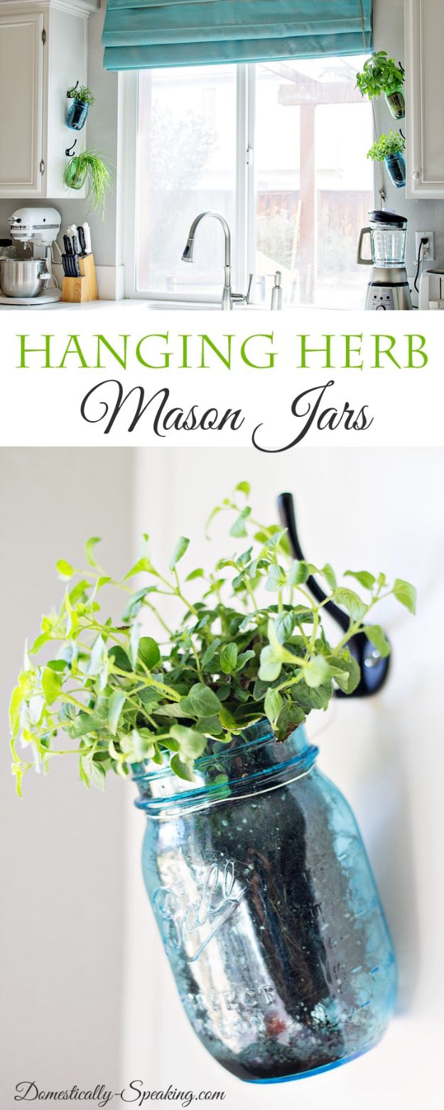 DIY Plant Hangers - Hanging Herb Mason Jars - Cute and Easy Home Decor Ideas for Plants - How To Make Planters, Hanging Pot Holders, Wire, Rope and Baskets - Quick DIY Gifts Ideas, Macrame Plant Hanger http://diyjoy.com/diy-plant-hangers-stands
