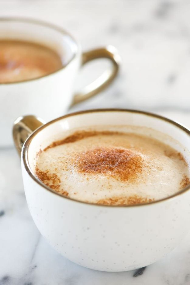 Coffee Drink Recipes - Homemade Cinnamon Dolce Latte - Easy Drinks and Coffees To Make At Home - Frozen, Iced, Cold Brew and Hot Coffee Recipe Ideas - Sugar Free, Low Fat and Blended Drinks - Mocha, Frappucino, Caramel, Chocolate, Latte and Americano - Flavored Coffee, Liqueur and After Dinner Drinks With Alcohol, Dessert Ideas for Parties http://diyjoy.com/coffee-drink-recipes