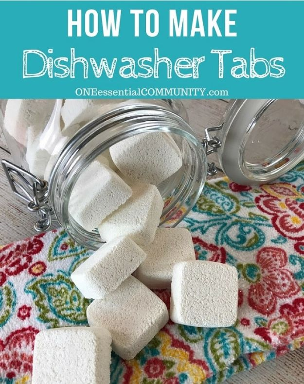 Homemade Cleaning Products - Homemade Dishwasher Detergent Tabs - DIY Cleaners With Recipe and Tutorial - Make DIY Natural and ll Purpose Cleaner Recipes for Home With Vinegar, Essential Oils