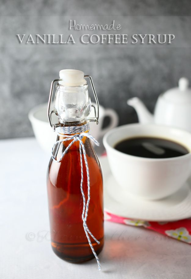 Coffee Drink Recipes - Homemade Vanilla Coffee Syrup - Easy Drinks and Coffees To Make At Home - Frozen, Iced, Cold Brew and Hot Coffee Recipe Ideas - Sugar Free, Low Fat and Blended Drinks - Mocha, Frappucino, Caramel, Chocolate, Latte and Americano - Flavored Coffee, Liqueur and After Dinner Drinks With Alcohol, Dessert Ideas for Parties #coffeedrinks #coffeerecipes #coffee #drinkrecipes
