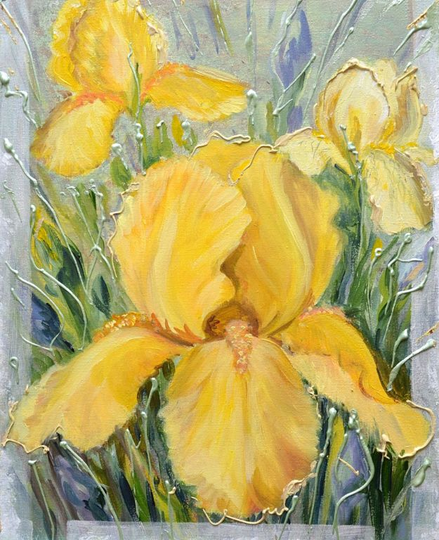 Acrylic Painting on Canvas - How to Paint Flowers With Acrylics - How To Draw The Iris Flowers Using The Acrylic Paints And The Decorative Techniques