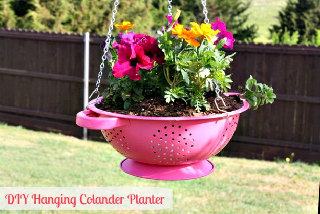 DIY Plant Hangers - How To Make A DIY Hanging Colander Planter - Cute and Easy Home Decor Ideas for Plants - How To Make Planters, Hanging Pot Holders, Wire, Rope and Baskets - Quick DIY Gifts Ideas, Macrame Plant Hanger #gardening #plants #diyideas