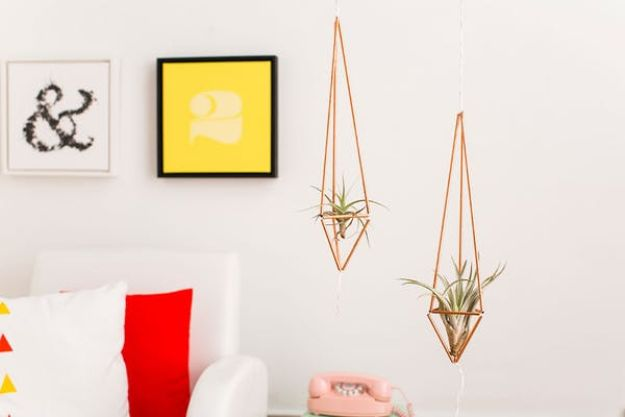 DIY Plant Hangers - How To Make Gorgeous Copper Pipe Plant Hangers - Cute and Easy Home Decor Ideas for Plants - How To Make Planters, Hanging Pot Holders, Wire, Rope and Baskets - Quick DIY Gifts Ideas, Macrame Plant Hanger #gardening #plants #diyideas