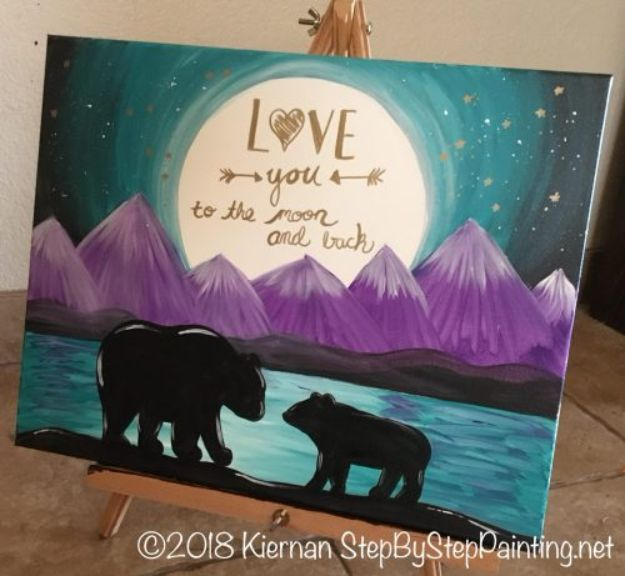 Acrylic Painting Tutorials and Techniques - How To Paint A Bear Silhouette With Quote - How To Paint With Acrylic Paint- DIY Acrylic Painting Ideas on Canvas - Make Flowers, Ocean, Sky, Abstract People, Landscapes, Buildings, Animals, Portraits, Sunset With Acrylics - Step by Step Art Lessons for Beginners - Easy Video Tutorials and How To for Acrylic Paintings #art #painting