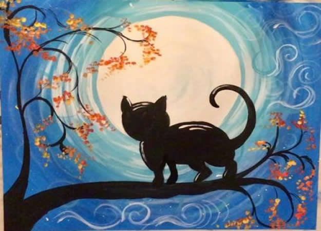 Acrylic Painting Tutorials and Techniques - How To Paint A Cat And Moon - DIY Acrylic Painting Ideas on Canvas - Make Flowers, Ocean, Sky, Abstract People, Landscapes, Buildings, Animals, Portraits, Sunset With Acrylics - Step by Step Art Lessons for Beginners - Easy Video Tutorials and How To for Acrylic Paintings #art #acrylic #diyart #artlessons #painting http://diyjoy.com/acrylic-painting-tutorials