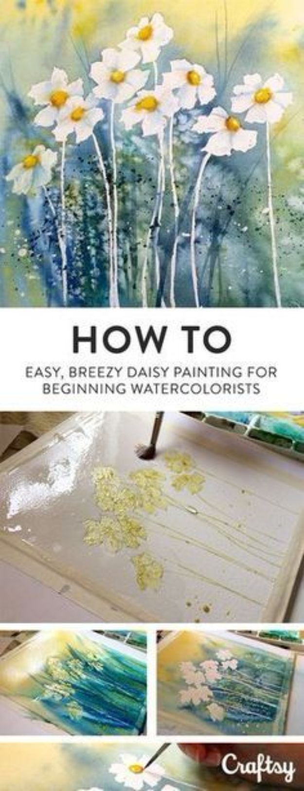 Watercolor Tutorials and Techniques - How To Paint A Daisy In Watercolor - How To Paint With Watercolor - Make Watercolor Flowers, Ocean, Sky, Abstract People, Landscapes, Buildings, Animals, Portraits, Sunset - Step by Step Art Lessons for Beginners - Easy Video Tutorials and How To for Watercolors and Paint Washes #art #watercolor #diyart #artlessons #painting http://diyjoy.com/watercolor-tutorials