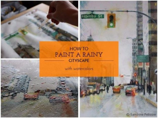 Watercolor Tutorials and Techniques - How To Paint A Rainy Cityscape - How To Paint With Watercolor - Make Watercolor Flowers, Ocean, Sky, Abstract People, Landscapes, Buildings, Animals, Portraits, Sunset - Step by Step Art Lessons for Beginners - Easy Video Tutorials and How To for Watercolors and Paint Washes #art