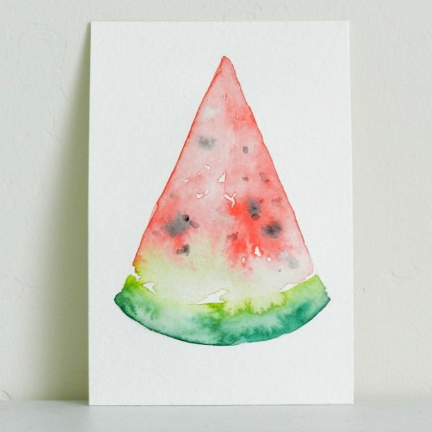 Watercolor Tutorials and Techniques - How To Paint A Watercolor Watermelon - Make Watercolor Flowers, Ocean, Sky, Abstract People, Landscapes, Buildings, Animals, Portraits, Sunset - Step by Step Art Lessons for Beginners - Easy Video Tutorials and How To for Watercolors and Paint Washes #art