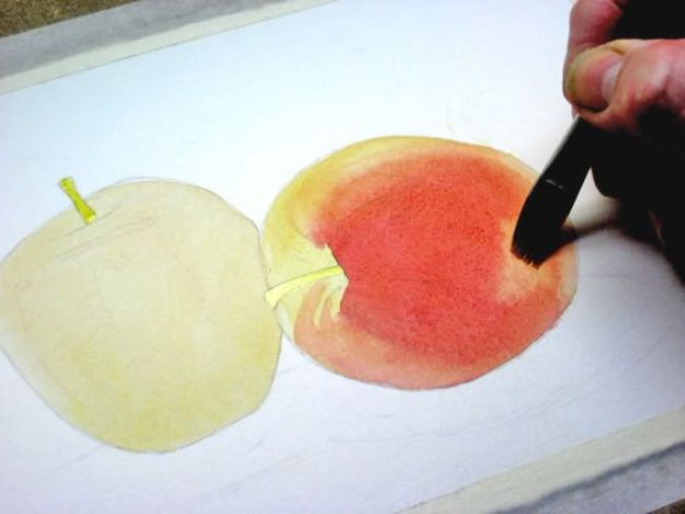 Watercolor Tutorials and Techniques - How To Paint An Apple With Watercolor - How To Paint With Watercolor - Make Watercolor Flowers, Ocean, Sky, Abstract People, Landscapes, Buildings, Animals, Portraits, Sunset - Step by Step Art Lessons for Beginners - Easy Video Tutorials and How To for Watercolors and Paint Washes #art