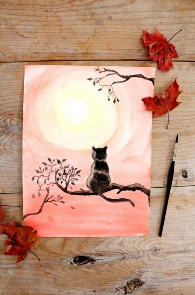 Watercolor Tutorials and Techniques - Paint Black Cat With Watercolor - How To Paint With Watercolor - Make Watercolor Flowers, Ocean, Sky, Abstract People, Landscapes, Buildings, Animals, Portraits, Sunset - Step by Step Art Lessons for Beginners - Easy Video Tutorials and How To for Watercolors and Paint Washes #art