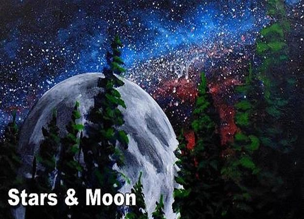 Acrylic Painting Tutorials and Techniques - How To Paint The Stars And Moon In Acrylic - How To Paint With Acrylic Paint- DIY Acrylic Painting Ideas on Canvas - Make Flowers, Ocean, Sky, Abstract People, Landscapes, Buildings, Animals, Portraits, Sunset With Acrylics - Step by Step Art Lessons for Beginners - Easy Video Tutorials and How To for Acrylic Paintings #art #painting