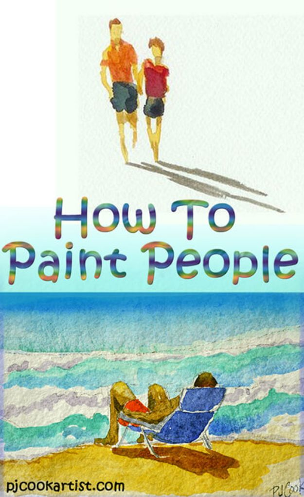 Watercolor Tutorials and Techniques - How to Paint People - How To Paint With Watercolor - Make Watercolor Flowers, Ocean, Sky, Abstract People, Landscapes, Buildings, Animals, Portraits, Sunset - Step by Step Art Lessons for Beginners - Easy Video Tutorials and How To for Watercolors and Paint Washes #art