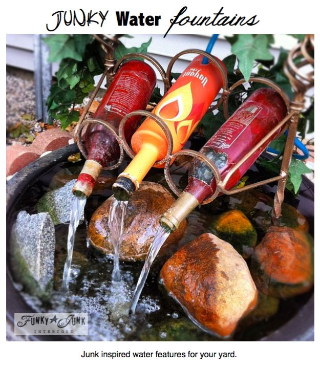 DIY Fountains - Junky Water Fountains - Easy Ways to Make A Fountain in the Backyard - Do It Yourself Projects for the Garden - DIY Home Improvement on a Budget - Step by Step DIY Tutorials With Instructions http://diyjoy.com/diy-fountains