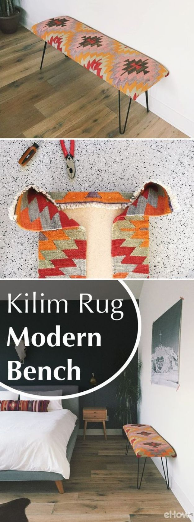 DIY Modern Home Decor - Kilim Rug Modern Bench - Room Ideas, Wall Art on A Budget, Farmhouse Style Projects - Easy DIY Ideas and Decorations for Apartments, Living Room, Bedroom, Kitchen and Bath - Fixer Upper Tips and Tricks